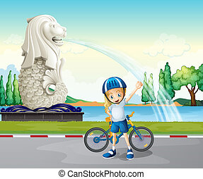 A young biker near the statue of Merlion - Illustration of a...