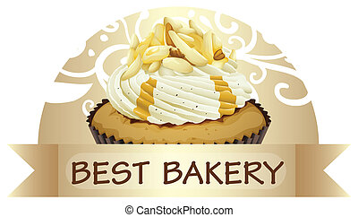 A best bakery label with a cupcake