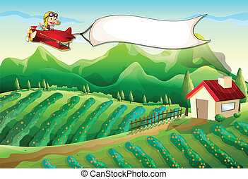 A pilot with an empty banner flying above the farm