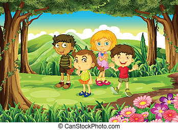 Four kids at the forest