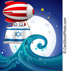 A floating balloon with the flag of Israel