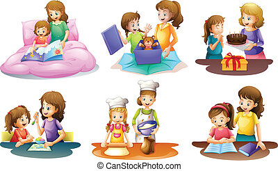 A mother and daughter bonding moments - Illustration of a...