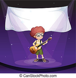 A boy at the stage with an empty banner at the back -...