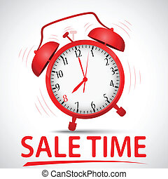 sale promotion with alarm clock - Vector Illustration of...