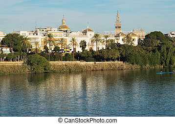 Seville - View of a Seville area near Guadalquivir river in...