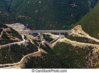 Highway bridge, aerial view