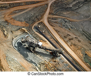 Large excavator in surface coal mine