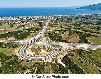Highway junction, aerial