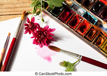 Watercolors - Watercolor paint box, flowers and brushes for...