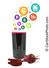 beetroot juice and vitamins on a white background