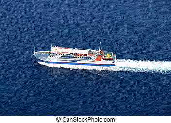 Ferry boat - Aerial view of sea ferry boat