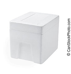 Styrofoam Box  - Closed Styrofoam Box On White Background