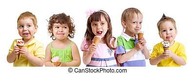 happy kids group with ice cream isolated