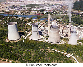 Cooling towers, aerial view