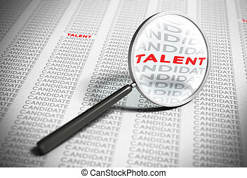 Searching for Talents - Recruitment Concept - Magnifier with...