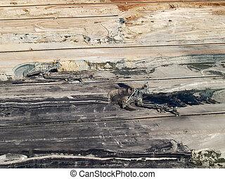 Excavators in coal mine, aerial