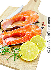 Trout with lemon and salt - Two pieces of trout with...