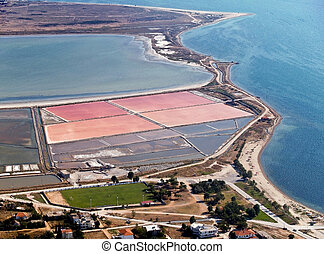 Salt evaporation ponds, aerial view