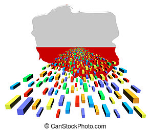 Poland map flag with containers illustration