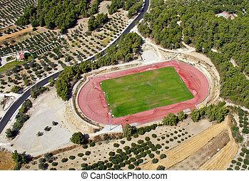 Rural athletic center, aerial