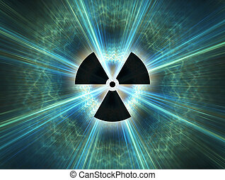 Nuclear radiation symbol on a blue background Simple Flat...