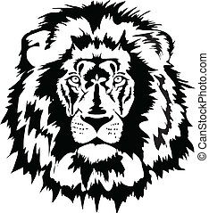 lion head black - lion head in black interpretation