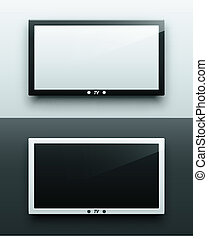 TV screen hanging, black and white, eps 10