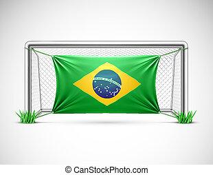Soccer goal with flag brazil, eps 10