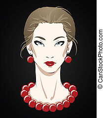 Beautiful young woman portrait with red necklace