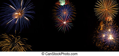Wide Fireworks DIsplay made of real pyrotechnic photos -...