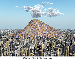 Volcano in a Big City - Computer generated 3D illustration...