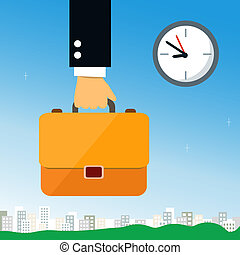 Business hand holding briefcase with documents vector...