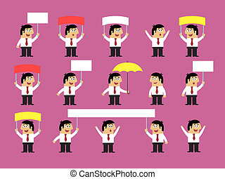 Set of office workers with blank banners - Business life....