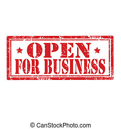 Open for business-stamp - Grunge rubber stamp with text Open...