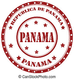 Panama-stamp - Grunge rubber stamp with text Panama,vector...