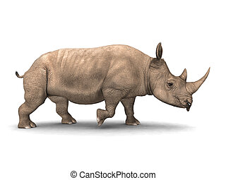 Rhinoceros - Computer generated 3D illustration with a...