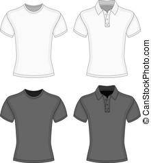 Men's t-shirt and polo-shirt - Men's white and black short...