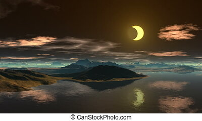 Moon reflected in water - Bright night Bright crescent moon...