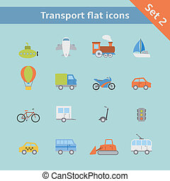 Transportation flat icons set of passenger train tram taxi...