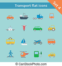 Transportation flat icons set of tanker container tractor...