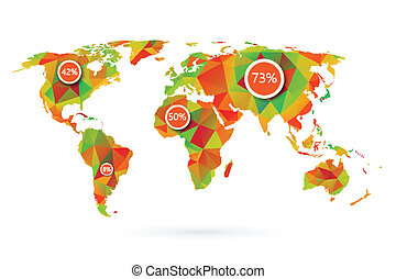 Polygonal world map vector illustration
