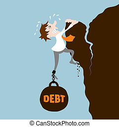 Business man with debt falling from cliff concept vector...