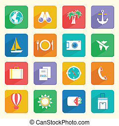 Travel Vacation Icons Set - Travel vacation journey icons...