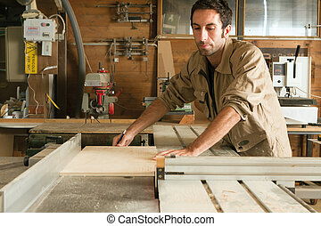 young worker in joinery - young worker at work in joinery...