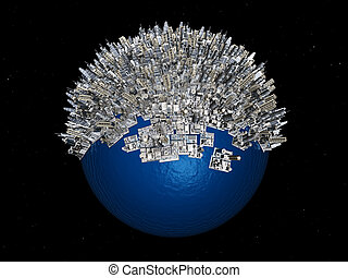 Overpopulation - Computer generated 3D illustration with...