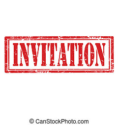 Invitation-stamp - Grunge rubber stamp with word...