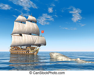 Whaler - Computer generated 3D illustration with a Whaling...