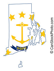 State of Rhode island flag map