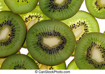 slices of fresh green fruit kiwi isolated on white...