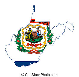 State of West Virginia flag map isolated on a white...